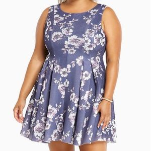Torrid Mesh Floral Print Sleeveless Pleated Dress